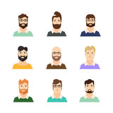 Man Avatars Hipsters with Various Hair Style and Beard. Vector Royalty Free Stock Photography