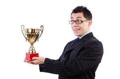 Man awarded with cup. Isolated on white royalty free stock photos