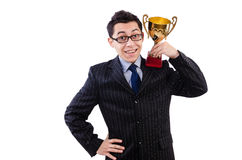 Man awarded with cup Royalty Free Stock Images