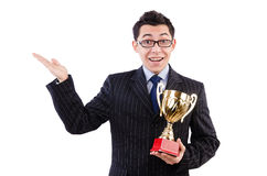 Man awarded with cup isolated Stock Photos
