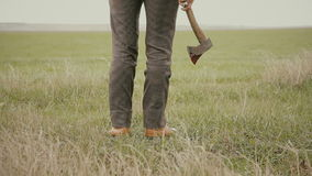 A man with an ax in the field stock video footage