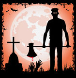 Man with ax in the halloween night Royalty Free Stock Images