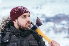 Man with an ax on his shoulder Stock Photos