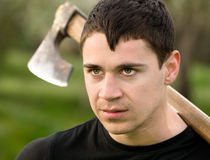 Man with an ax Stock Photo