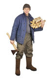 Man with an axe and firewoods Stock Photo