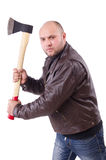 Man with axe isolated Stock Photography