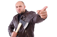 Man with axe isolated Royalty Free Stock Photography