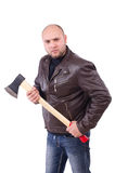 Man with axe isolated Stock Images