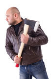 Man with axe isolated Royalty Free Stock Photo