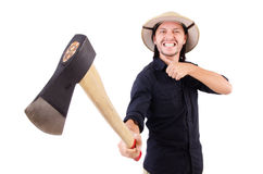 The man with axe isolated on white Royalty Free Stock Images