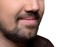 Man baard op een bebouwd gezicht Stock Foto
