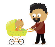 Man with baby carriage Stock Images