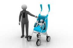 Man with baby carrier Stock Photo