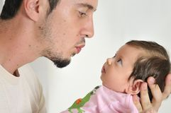 Man and baby closeup portrait Stock Photo