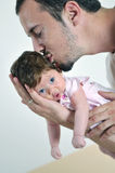 Man and baby closeup portrait Stock Photos