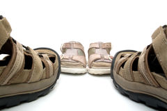 Man and baby sandals Stock Images