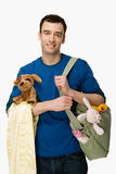 Man with baby supplies Stock Image