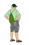 Man back with a bag Royalty Free Stock Image