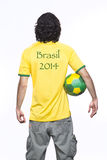 Man back with brasil jersey Royalty Free Stock Photos