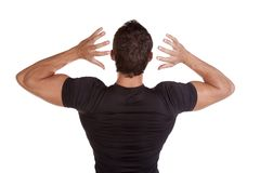 Man from back hands up Royalty Free Stock Image