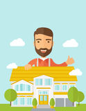 Man at the back of house structure plan Royalty Free Stock Photo