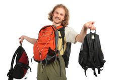 Man with back packs Stock Photography