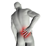 Man with back pain. 3D render of a man with back pain Stock Image