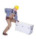 Man With Back Pain Lifting Metal Box Royalty Free Stock Image