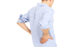 Man back pain. Young man back pain isolated over white background Stock Photos