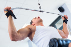 Man at back sport training in fitness gym. Man doing bodybuilding sport by exercising lifting dumbbells in fitness club or gym Royalty Free Stock Photo