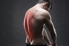 Man with backache. Pain in the human body. Muscular male body. Handsome bodybuilder posing on gray background Stock Photo
