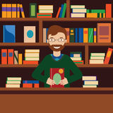 Man on background with bookcase. Librarian or bookstore seller Royalty Free Stock Photo