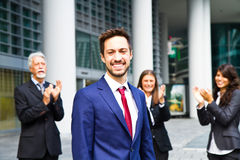 Man on the background of business people Royalty Free Stock Photos