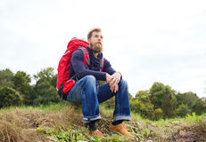 Man with backpack hiking Royalty Free Stock Images