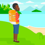 Man with backpack hiking. Stock Photos