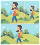 Man with backpack hiking vector illustration. Royalty Free Stock Photo
