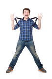 Man with backpack isolated Stock Photography