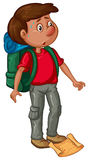 Man with backpack and map vector illustration