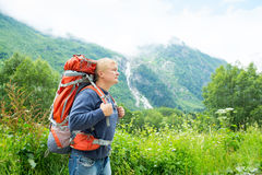 Man with a backpack Stock Image