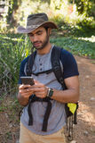 Man with backpack using mobile phone. In the forest Stock Image