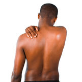 Man with backpain Stock Image