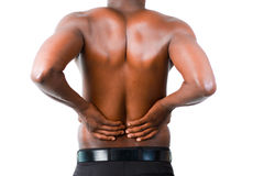 Man with backpain Stock Images