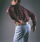 Man with backpain Royalty Free Stock Photos