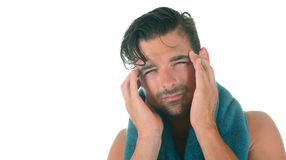 Man with bad Headache Royalty Free Stock Image