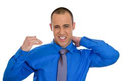 Man with bad neck pain Royalty Free Stock Images