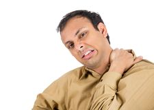 Man with bad neck pain Stock Photography