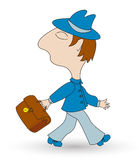 Man with bag. The man with bag walks. Isolated on white. Vector illustration Royalty Free Stock Photos