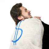Man with bag on his back Stock Photography
