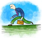 Man with bag running Royalty Free Stock Photo