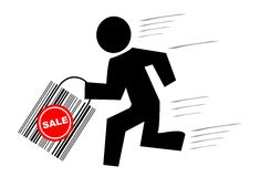 Man with bag is running for sa. Vector illustration - Man with bag is running for sale Royalty Free Stock Images